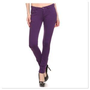 Purple Five-pocket Skinny Jeans